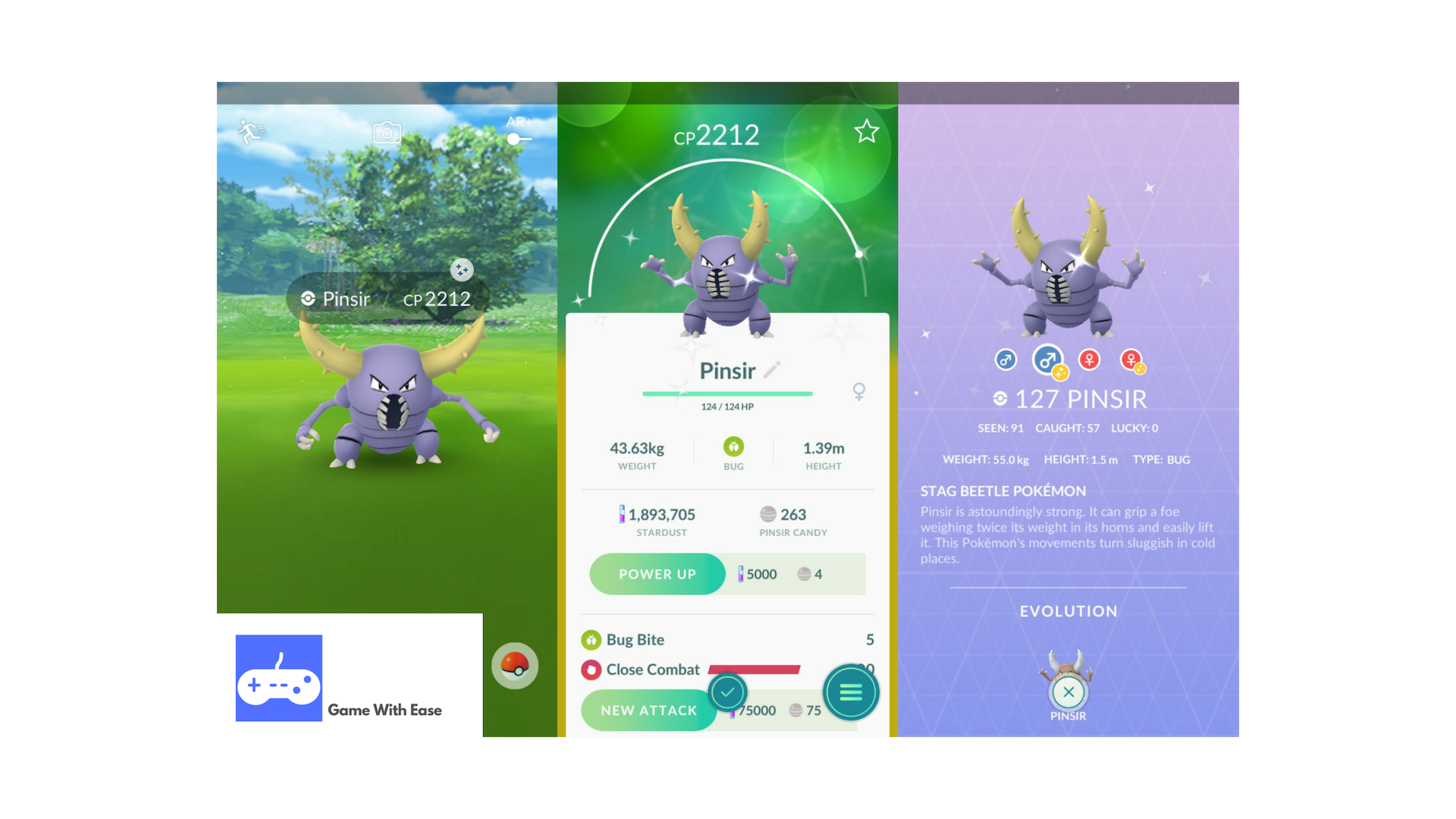 pokemon go shiny pinsir encounter