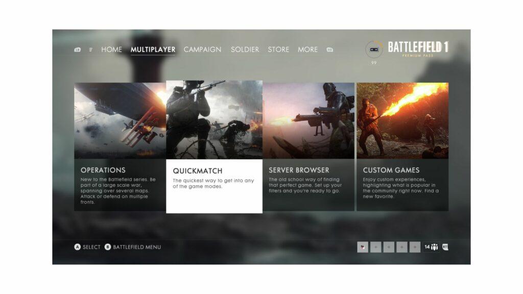 battlefield 1 quickplay menu